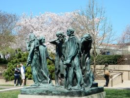 The Burghers of Calais and the Cherry Blossoms by rlkitterman