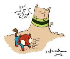 spider cat vs sandkitty by katiecandraw