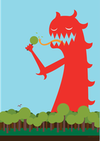 Red Monster and Lollipop Trees by ynthamy