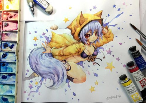 Watercolor : KitsuneYin by emperpep