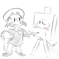 Adeleine Paints her Hero by Slicky-Grease