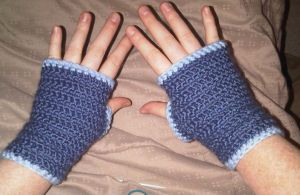 Silky Blue and light blue Fingerless gloves by Whyte-Raven