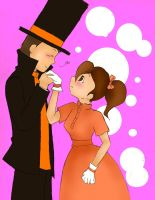 Layton x Flora Valentines by twilitprincesses