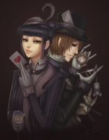 Chesire Cat and Mad Hatter by dyadav