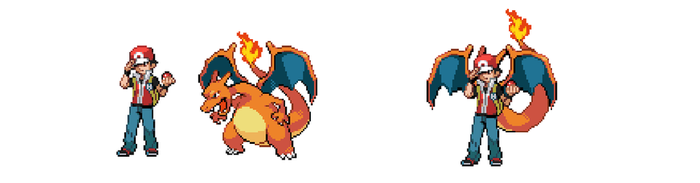 Red and Charizard by FlamingCharizard
