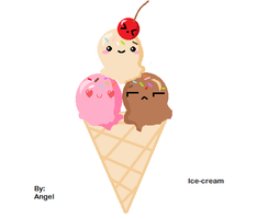 Cute strawberry chocolate and vanilla ice-cream by Hot-Angel-Kiss