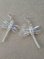 Dragonfly Earrings - Clear 2 by WhiteMagicPriestess