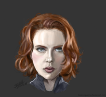 Scarlett Johansson's portrait as Black widow .. by GaaraJapanime