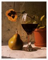 Wine Glass, Pear and Pansy by DanielMontoyaStudio