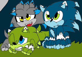 Sonic,Silver,and Scourge werepups by Shadymist122