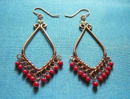 Coral chandelier earrings by pikabee
