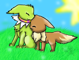 Shiny Jolteon and Eevee by deni20