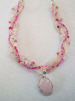 Pink Wire-Wrap Necklace by asukawashere
