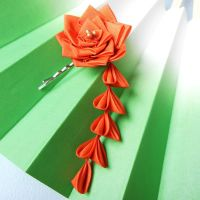 Rose for my Valentine kanzashi by elblack