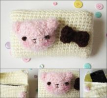 Kawaii bear crochet amigurumi iphone case cream by hellohappycrafts