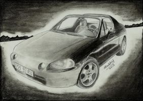 Honda CRX del Sol Car Drawing Realistic by MaxBechtold