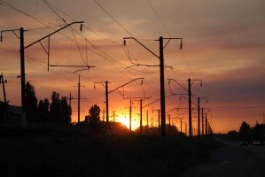 Sunset on a railroad stock #7 by croicroga