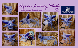 Espeon plush with SWAROVSKI by WolfPink