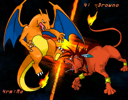 chrizard vs red XIII 4 drowno by ClydeBob