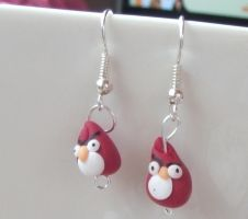 Red angry bird earrings by chaobreeder16