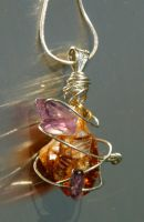 Caged Citrine and Amethyst by scylla