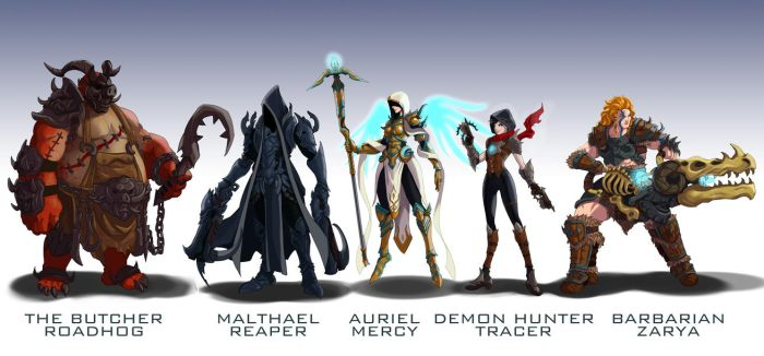 Overwatch Blizzard mashup skins 2 by wildcard24