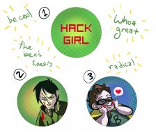Hack Girl Pins by AnnieDraws