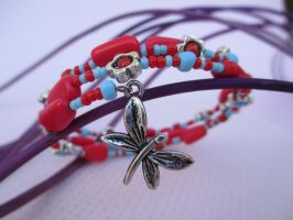 Dragonfly Light Blue and Red Memory Bracelet by ExinaArt