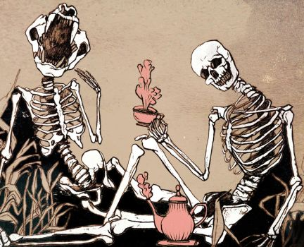 Skeletons having a tea party by FromTheHood