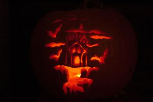 Haunted House Jack-O-Lantern by Karoyence
