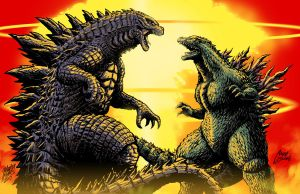 Godzilla vs Godzilla by Matt Frank and MASH by KaijuSamurai