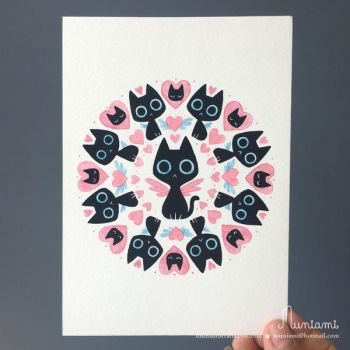 Mandala Black Cat Love by natalianinomiya
