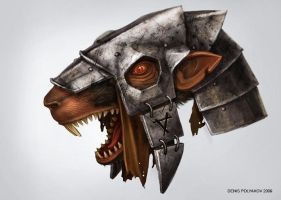 Sketch of the skaven mask in the helmet. by DenisPolyakov