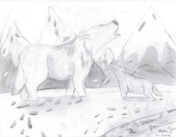 Father and Pup Howling by ArtistGreyGhost