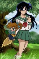 Kagome and Shippo by MikaRabidKitsune