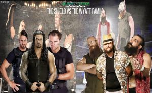 The Shield vs Th Wyatt Family Matchcard by AYB12 by AyBenoit12