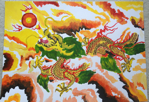 Chinese Dragon Acrylic by phobicEscapist
