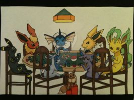 Eevee evolutions playing Pokemon (in color) by AlPendragon