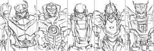 Mega Mecha lineup by bulletproofturtleman
