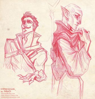 Solas and Dorian impression doodles by DanjiDoodle