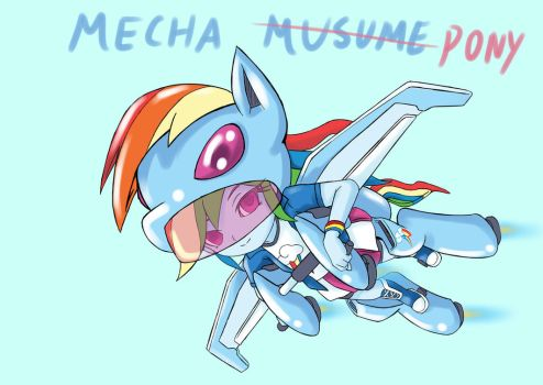 RainbowDash mecha musume(DesignTest) by skyshek