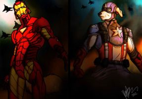 iron man and captain america by sherlokholmes