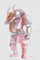 Silent Desert Oni-Camel-Warrior pencil-drawing by Brollonks