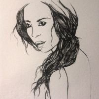 working on a tomb raider's drawing /lara by BeaMaia