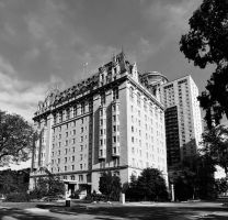 Fort Garry Hotel 2 Picture Panorama BW by Joe-Lynn-Design