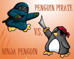 Ninja Vs. Pirate-Penguin Style by Orbnauticus