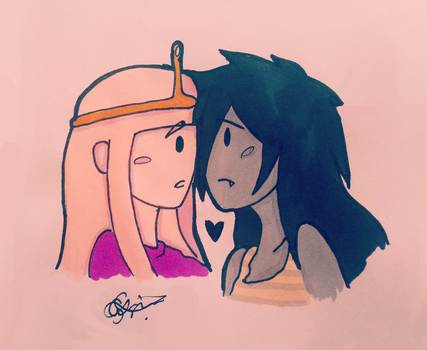 Marceline and Princess Bubblegum M+B by dedesamag