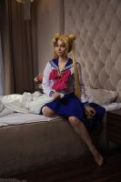 Usagi Tsukino in Mamoru's appartment by Moonychka