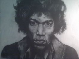 Hendrix bust in charcoal by RougeDK