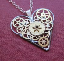 Mechanical Heart Necklace Gravity by AMechanicalMind